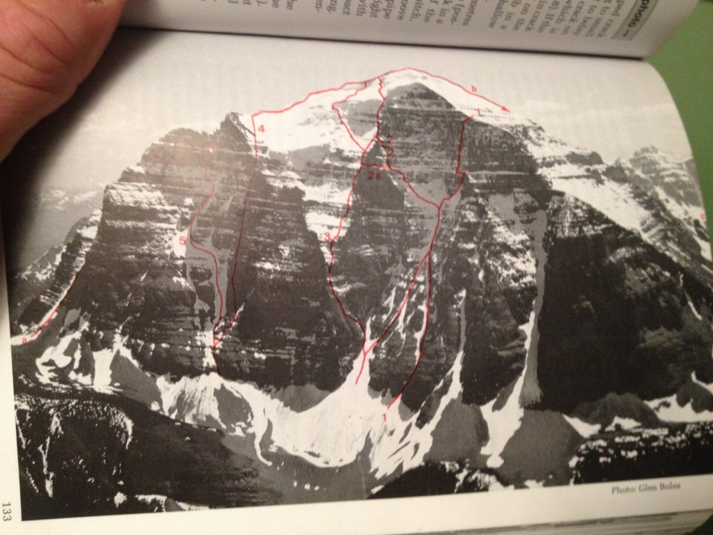The red line furthest to the right is the route we would attempt the Greenwood/Locke on the N. Face of Mt. Temple.