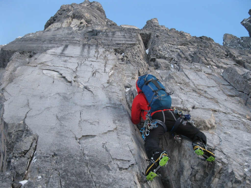 Climbing amazing M6 on the Greenwood/Locke headwall.