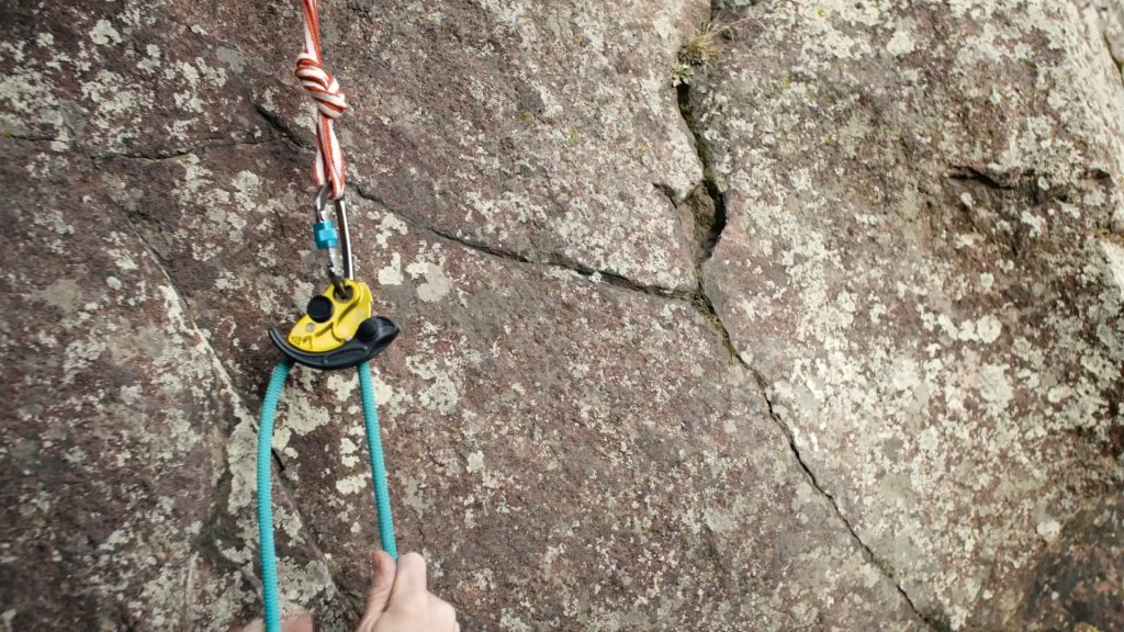 The Vergo being used to belay a second on a multi-pitch climb