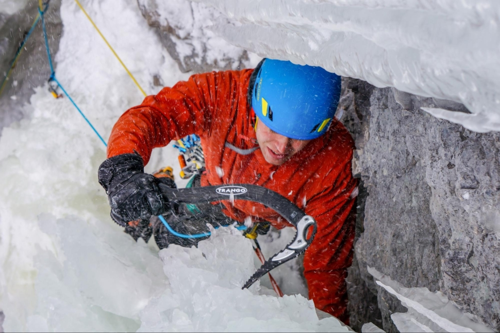 Nate Kenney ice climbing in Ouray with Trango Kestrel ice tools.