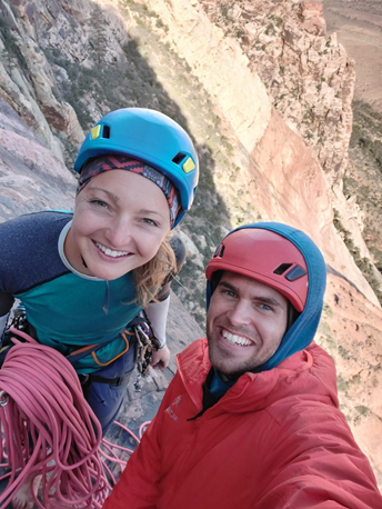 Karly Rager Priest and Nate Kenney at the top of Drifting, 5.11c