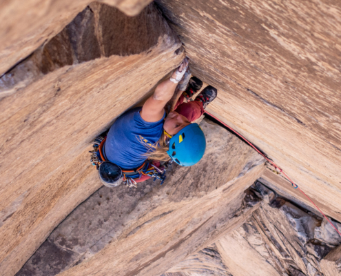 Karly Rager Priest on Our Father, 5.10d. Photo by Nate Kenney.