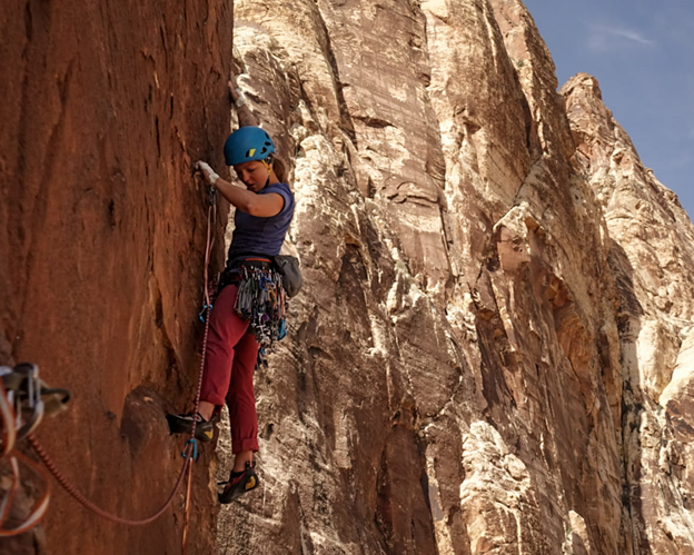 Karly Rager Priest on The Delicate Sound of Thunder 5.11b/c. Photo by Nate Kenney.