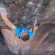 Top-down view of Mike Anderson climbing The Renaissance, 5.14a, his latest first ascent in Colorado's San Luis Valley.